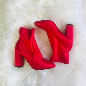 Aquazzura So Me Ankle Booties Red Satin NEW 7